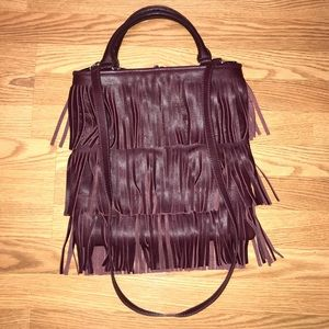 Posse leather plum fringe Crossbody bag purse NWOT